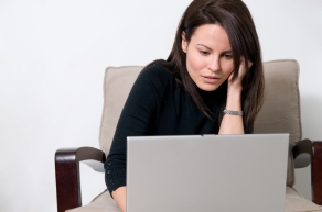 Adult learner taking an online class
